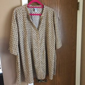 Summer into fall tan and brown patterned blouse